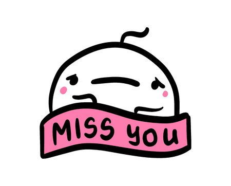 Miss you hand drawn vector illustration in cartoon comic style man sad lettering label 向量圖像