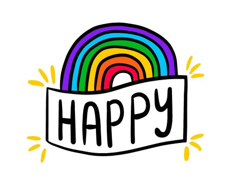 Happy hand drawn vector illustration in cartoon doodle style label rainbow lettering 向量圖像