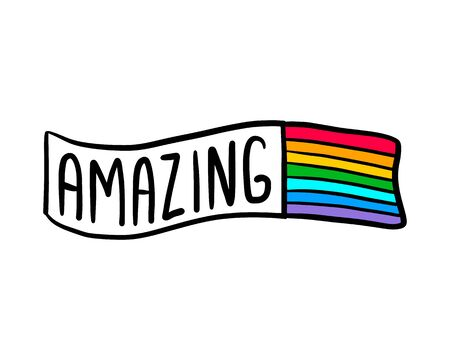 Amazing hand drawn vector illustration in cartoon style doodle label lettering rainbow flag