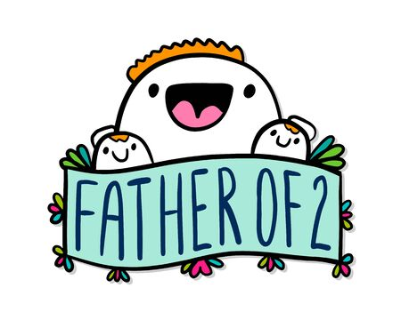 Father of two hand drawn vector illustration in cartoon doodle style man hugs kids family relations label lettering Banque d'images - 149594045
