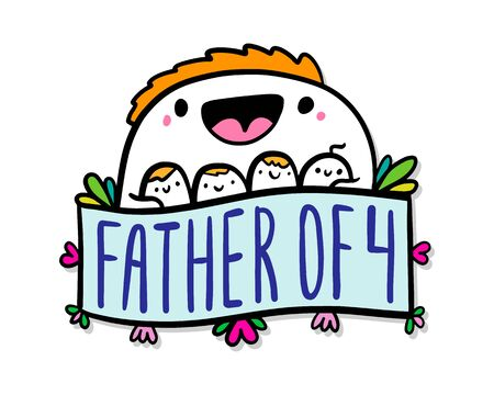 Father of four hand drawn vector illustration in doodle cartoon style man and his kids family relations label lettering Banque d'images - 149594028