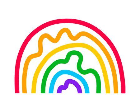 Rainbow hand drawn vector illustration in cartoon doodle style vibrant colors irregular Illustration