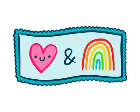 Love symbol smiling and rainbow together hand drawn vector illustration in cartoon doodle style