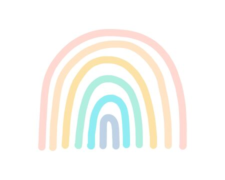 Pastel rainbow hand drawn vector illustration in cartoon doodle style