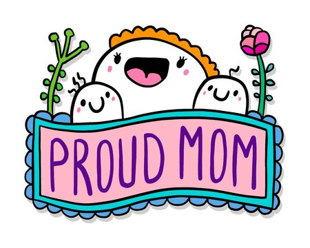 Proud mom hand drawn vector illustration in cartoon doodle style woman hugs kids blooming flowers lettering label
