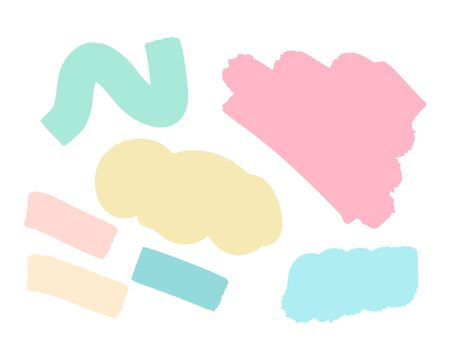 Pastel creative hand drawn vector spots in abstract style tender colors