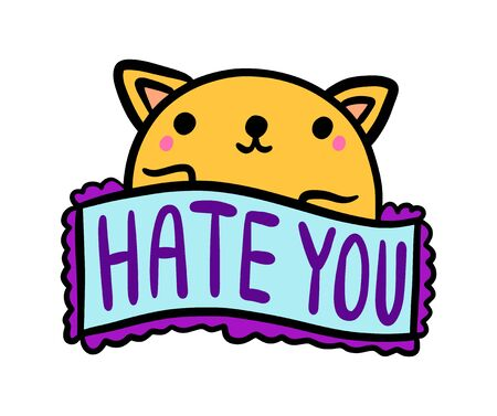 Hate you hand drawn vector illustration in cartoon comic style cat smiling label lettering vibrant colors