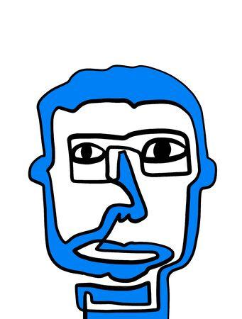 Blue portrait one line creative man abstract contour silhouette vibrant color creative