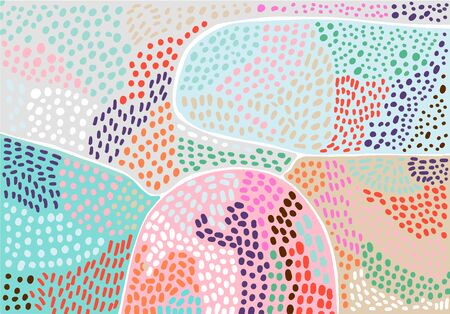 Pastel hand drawn vector background in abstract style. Textured forms in cartoon style vibrant