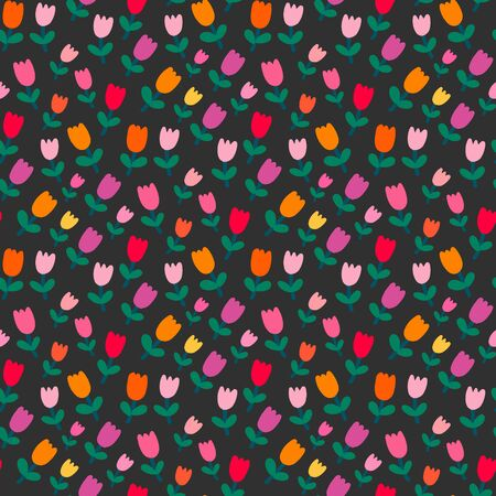 Garden of tulips hand drawn vector seamless pattern in cartoon comic abstract style pastel gray green