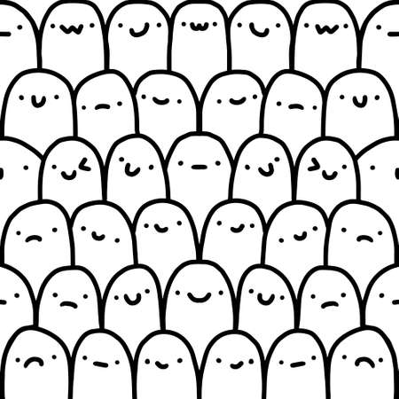 Black and white hand drawn seamless pattern in cartoon comic style vector Illustration