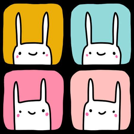 Four rabbits hand drawn vector illustration seamless pattern in cartoon comic style kawaii faces Illustration