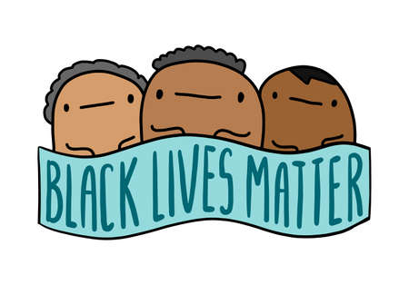 Black lives mattern hand drawn vector illustration in cartoon comic style