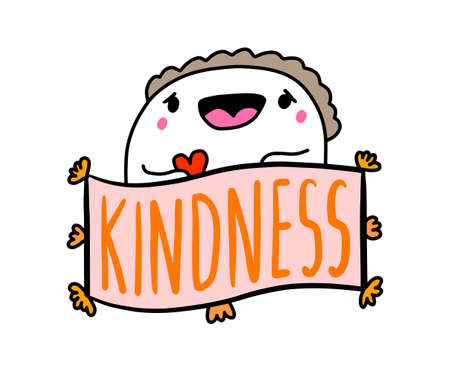 Kindness hand drawn vector illustration in cartoon comic style man expressive holding heart symbol smiling cheer