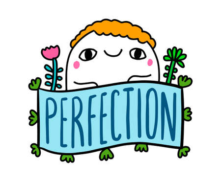 Perfection hand drawn vector illustration in cartoon comic style man expressive smiling