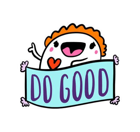 Do good hand drawn vector illustration in cartoon comic style man happy holding heart symbol Illustration