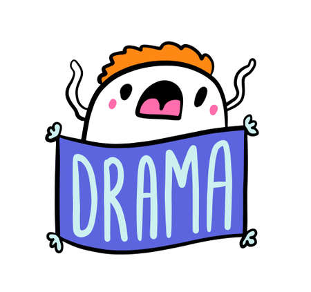 Drama hand drawn vector illustration in cartoon comic style mna expressive
