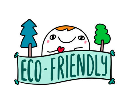 Eco-friendly hand drawn vector illustration in cartoon comuic style man expressive holding heart symbol trees forest around lettering label