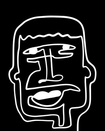 Modern Abstract Face Portrait. Linear Ink Brush Contemporary Continuous Painting. Fashion Style Black And White Abstraction Poster. Vector Illustration