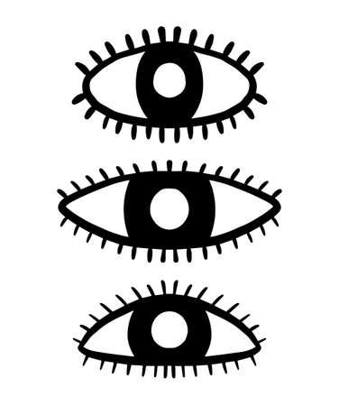 Three eye symbols  in cartoon style. Doodle illustration icon  look