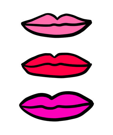 Three lips symbols hand drawn in cartoon doodle style. Different colors. Illustration purple pink red Ilustracja