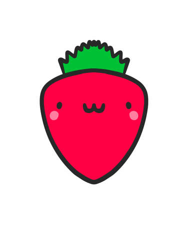 Smiling strawberry  vector illustration in cartoon doodle kawaii style fresh berry icon