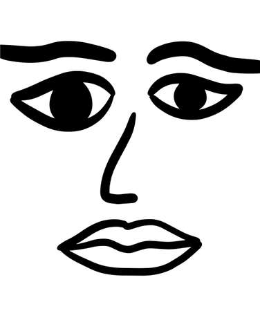 Woman face hand drawn vector illustration simple in minimalism style lips eyes nose Illustration