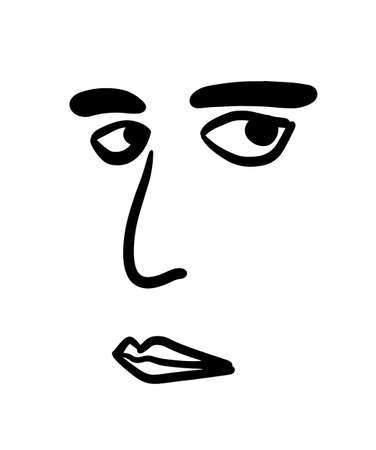 Man face hand drawn vector illustration simple in minimalism style lips eyes nose brows
