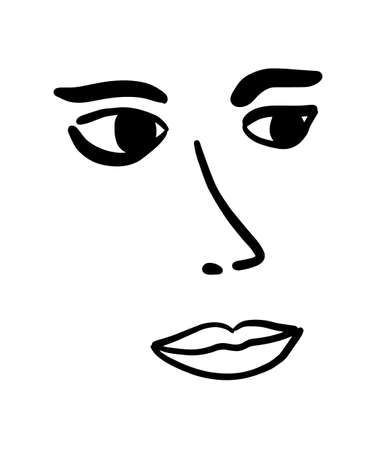 Woman face  vector illustration simple in minimalism style lips eyes nose brows Illustration