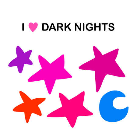 I love dark nights hand drawn vector illustration in cartoon comic style stars moon sky