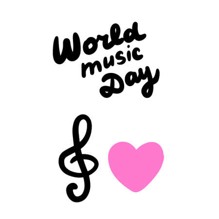 World music day hand drawn vector illustration in cartoon comic style lettering treble clef heart symbol