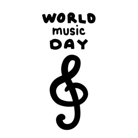 World music day hand drawn vector illustration in cartoon comic style lettering treble clef