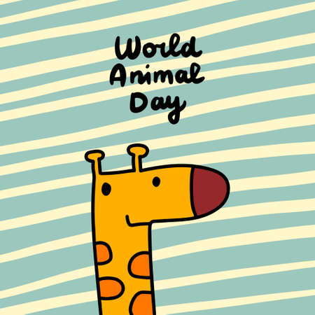 World animal day hand drawn vector illustration in cartoon comic style giraffe cute kawaii