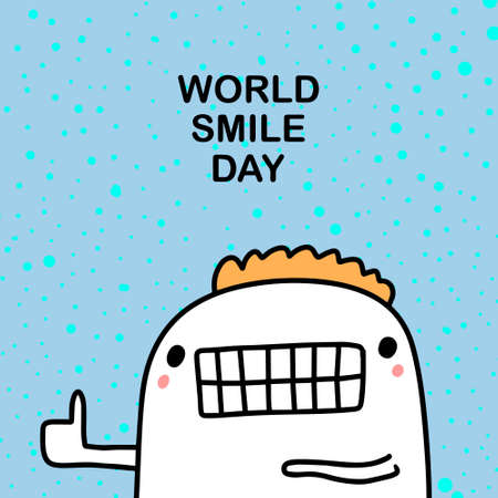 World smile day hand drawn vector illustration in cartoon comic style man cheerful