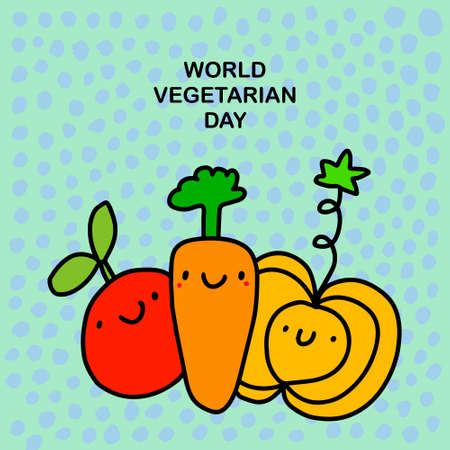 World vegetarian day hand drawn vector illustration in cartoon comic style food smiling expressive