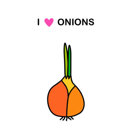 I love onions hand drawn vector illustration in cartoon doodle style vegetable Vettoriali