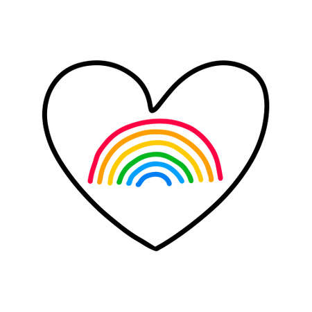 Heart with rainbow inside homosexual symbol lesbian gay love