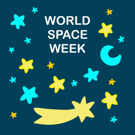 World space week hand drawn vector illustration in cartoon doodle style stars moon text