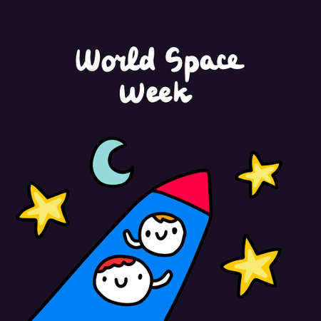 World space week hand drawn vector illustration in cartoon doodle style people happy to fly