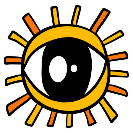 Eye sun hand drawn vector illustration in cartoon doodle style icon yellow