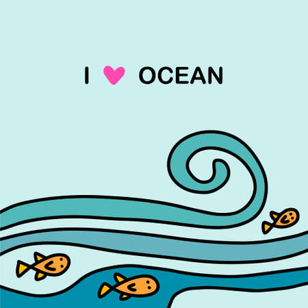I love ocean hand drawn vector illustration in cartoon doodle style water fish