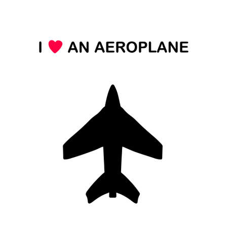 I love an aeroplane hand drawn vector illustration in cartoon doodle style black contour