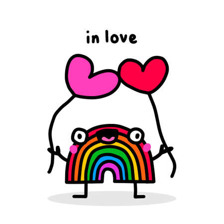 Rainbow character in love hand drawn vector doodle illustration in cartoon comic style