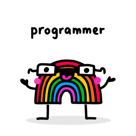 Programmer rainbow hand drawn vector illustration in cartoon doodle style character expressive 向量圖像