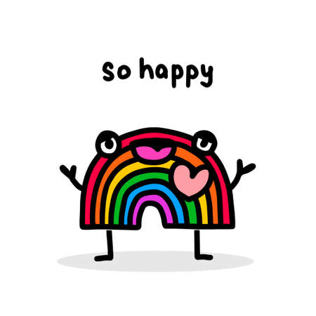So happy hand drawn vector illustration in cartoon doodle style rainbow cheerful