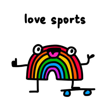 Love sports hand drawn vector illustration in cartoon doodle style rainbow skating 向量圖像