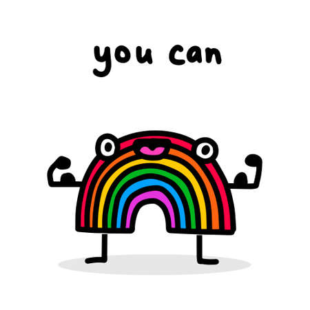 You can hand drawn vector illustration in cartoon doodle style rainbow strong