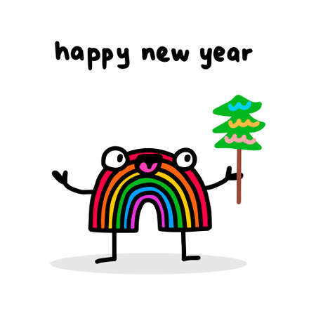 Happy new year hand drawn vector illustration in cartoon doodle style rainbow holds tree
