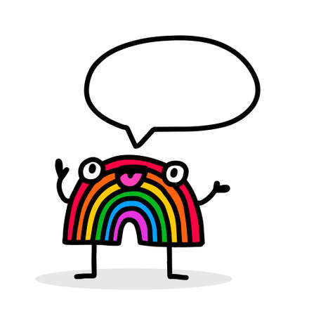 Rainbow character and speech bubble hand drawn vector illustration in cartoon doodle style