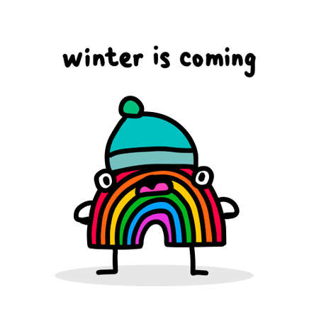 Winter is coming hand drawn vector illustration in cartoon doodle style rainbow hat